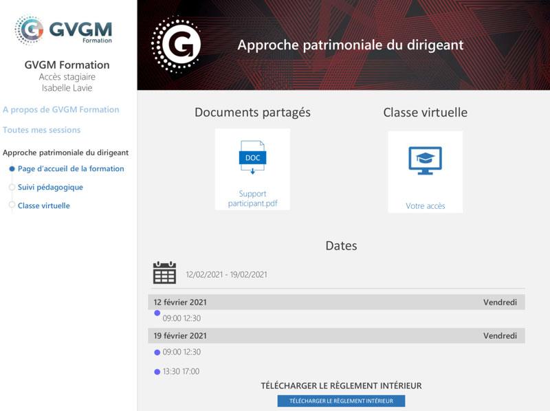 capture d'écran de l'accès stagiaire